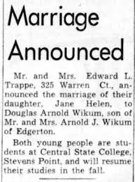 Jane Helen Trappe and Douglas Arnold Wikum Engagement, Green Bay  Press-Gazette, Thur. Aug. 28, 1958 - Newspapers.com