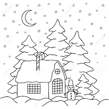 fence drawing. Hand-draw Village House Behind The Fence. Coloring Book Page For Adults And Children Fence Drawing