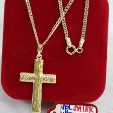 ihambing ang pinakabagong pure saudi gold 18karat necklace with cross pendant 3 31g l 24inches pinahusay na presyo sa pilipinas
