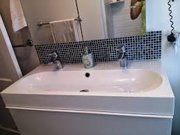 image of beat double trough bathroom sink