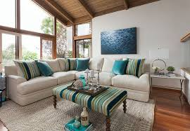 furnitures cool living room with striped upholstered coffee table and neutral sectional sofa cool living