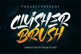 Licensed for personal and commercial use. Cluisher Brush Font By Ergibi Studio Creative Fabrica Brush Font Graffiti Quotes Cool Fonts