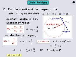 find the equation of the tangent at the point a 7 6
