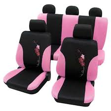 girly car seat covers lady pink black flower pattern audi a6 up to 1998