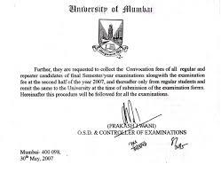 Convocation Fresh Degree Certificate Verification Letter Sample Copy