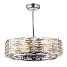 indoor polished chrome ceiling fan with light