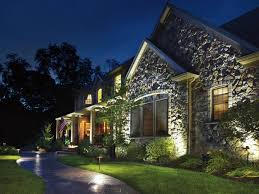 stately home with awesome outdoor design plus kichler led landscape lighting beautiful night lamps brighten grass