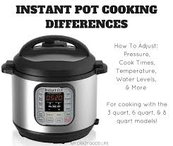 Instant Pot Conversion Chart Instant Pot Cooking Differences How To Adjust For Size