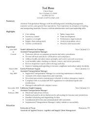 Transportation Resume Examples Assistant Manager Resume Examples Cover Letter For Transportation