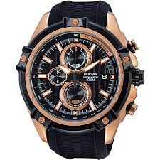pulsar rose gold watches best watchess 2017 pulsar men s rose gold tone black chronograph watch h samuel
