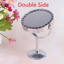 silver desk type double side cosmetic makeup mirrors with 1 2 magnifying function glass cosmetic mirror art deco mirror bathroom mirrors with lights from