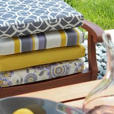 best outdoor chair cushions with colorful pattern for wicker seat brown wood frame outdoor chair design