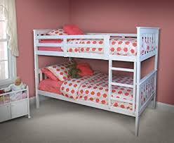 Amazon.com: WHITE BUNK BEDS FOR GIRLS AND BOYS, Kids Twin Over Twin ...