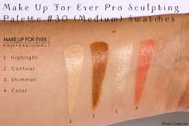 make up for ever pro sculpting palette 30 um swatches