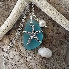 handmade in hawaii turquoise bay blue sea gl necklace starfish charm fresh water pearl sterling silver