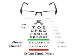 Glasses In Hands And Eye Test Chart Glasses With Right