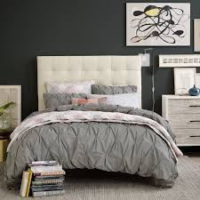 tall leather grid tufted headboard west elm with regard to amazing residence tufted duvet cover decor