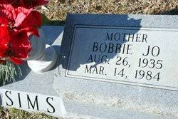 Bobbie Jo Sims (1935-1984) - Find A Grave Memorial
