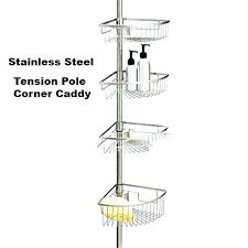 tension pole corner shower rust proof stainless steel best caddy in teak oil rubbed bronze tub
