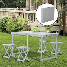 outsunny 4 portable folding picnic table with 4 seats aluminum height adjule outdoor garden table