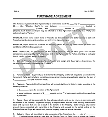 Pennsylvania Purchase And Sale Agreement Template Car Purchase ...