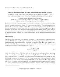 Underwater Light Maya Pdf Download Pdf Empirical Algorithm To Estimate The Average Cosine Of