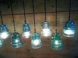 8 of vintage wood horse wagon yoke telegraph glass insulator light fixture chandelier lights diy insula