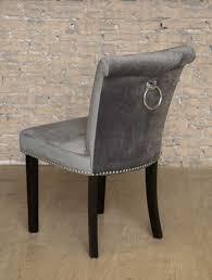 grey velvet studded dining occasional bedroom chair chrome back ring knocker rin