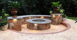 fire pit seat wall stamped concrete outdoor fire pits salzano custom concrete al