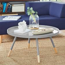 coffee table round spindle tray top modern decoration living room small area