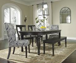 extendable dining room table by signature design by ashley. sharlowe charcoal rectangular extendable dining table benches and chairs chiltern benches: full size room by signature design ashley l