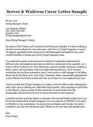 Server Waitress Cover Letter Sample Resume Companion