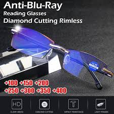 Anti-Blu-Ray <b>Reading</b> Glasses  Men <b>Diamond Cutting Rimless</b> ...