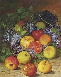apple fruit painting. william mason brown, apples and lilacs, ca. 1872-75. apple fruit painting