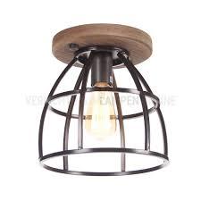 Landelijk Industriële Plafondlamp Met Hout