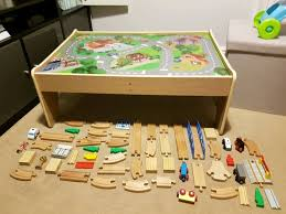 elc wooden train set and table early learning centre
