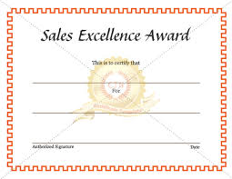 Award Of Excellence Certificate Template Sales Excellence Award certificate Certificate Template 81