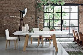 contemporary dining table red gl metal porcelain stoneware