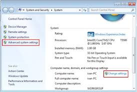 Assigning Computer Name And Workgroup In Windows 7