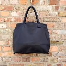 large black leather tote bag leather oversized handbag handmade by vank design