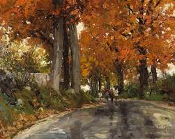Autumn scene, children coming home from school by Richard Alan ...