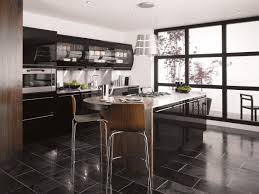 Black Kitchen Laminate Flooring Kitchen Amusing Vibrant Black Kitchen Design For Small Space