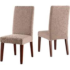 sure fit stretch jacquard damask shorty dining room chair slipcover mushroom sf40121