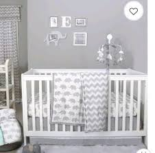 the peanut shell grey elephant chevron 4 piece baby crib bedding set w mobile