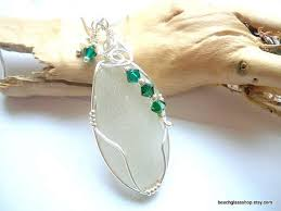 wire wrapped recycled glass pendant. Wire Wrapped Recycled Glass Pendant. Sea Beach Crystal  Bottle Necklace Pendant