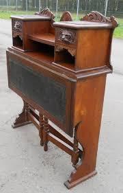 victorian carved oak fold down writing desk