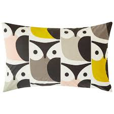 orla kiely big owl housewife pillowcase pair pink warm grey