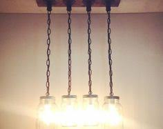 cottage mason jar chandelier. Industrial/Rustic/Modern Brass Pipe Mason Jar Handmade By Lulight Cottage Chandelier