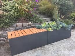 corten bench planter gray aluminum planter bench