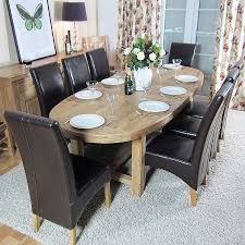 oval extending dark wood dining table
